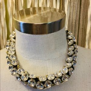 Banana Republic Rhinestone Brass Chunky Necklace